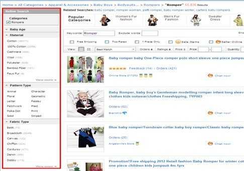 Использование меню слева для уточнения поиска по сайту