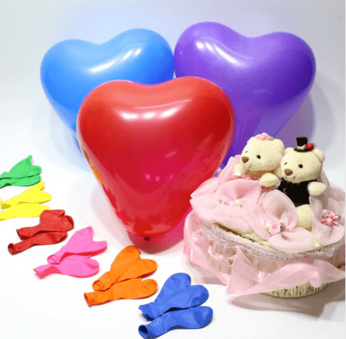 Любовные воздушные шары-сердечки