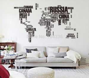 Оригинальная карта мира га стену, декор